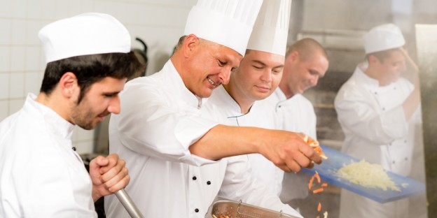 team work in cruise ship kitchens