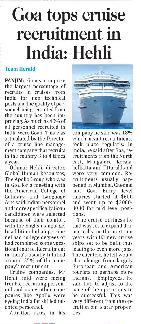 Goa tops cruise recruitment in India